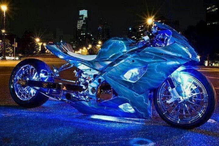 A custom well lit motorcycle