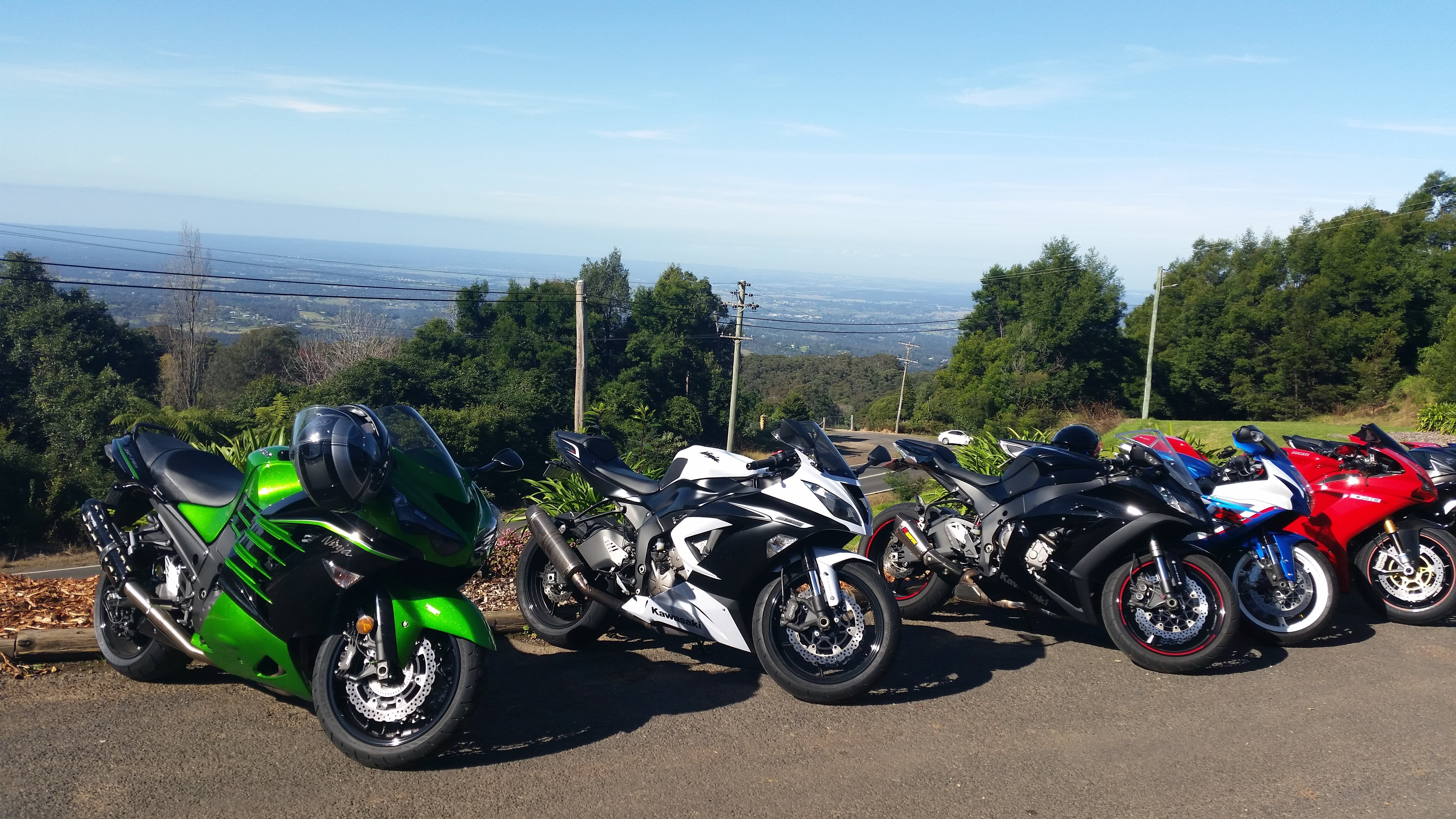 5 sport motorcycles all lined up