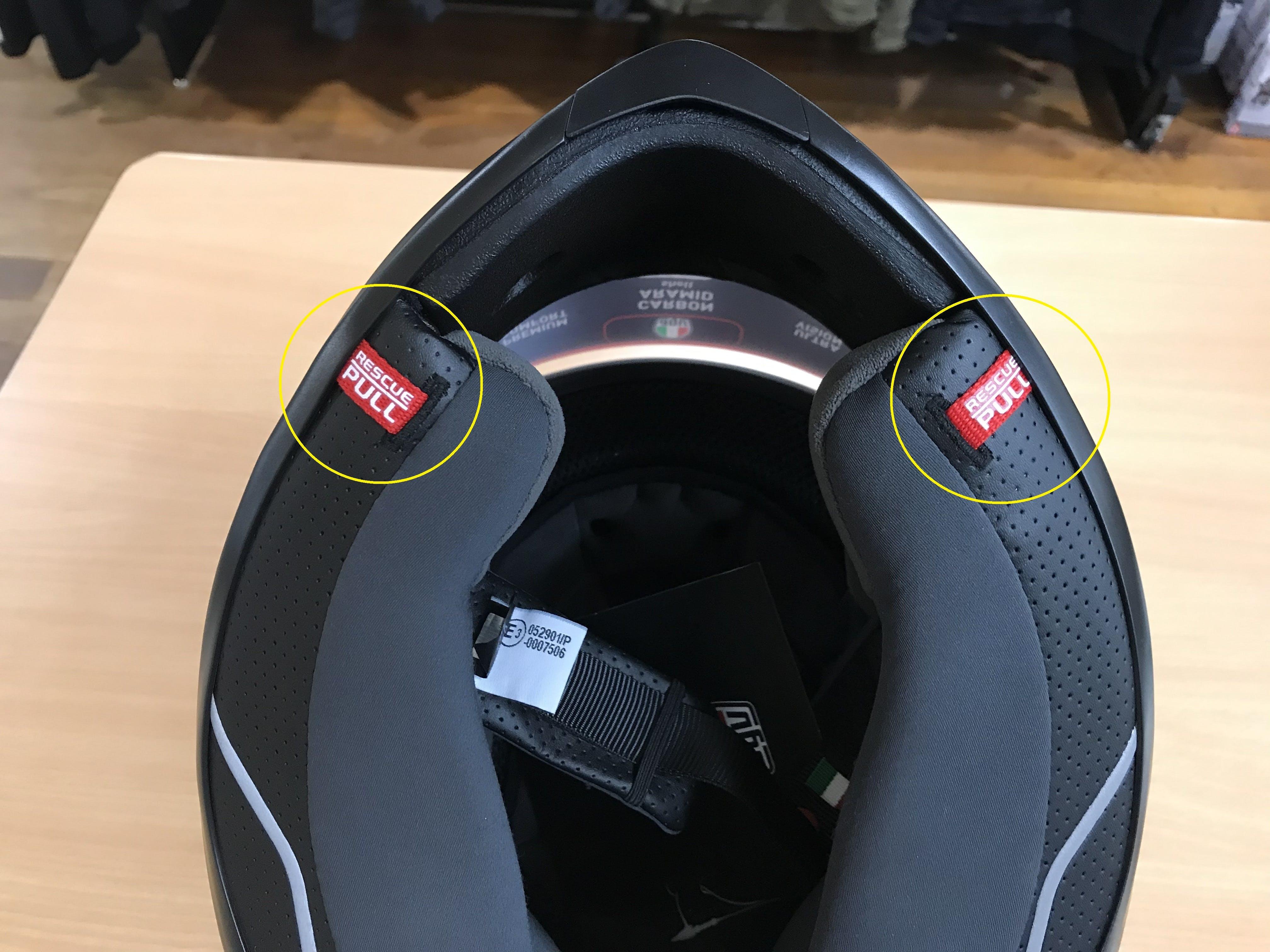 Emergency pull tabs on AGV K6 road helmet