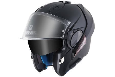 The Sharktooth Prime on an Evo-Line helmet that is open