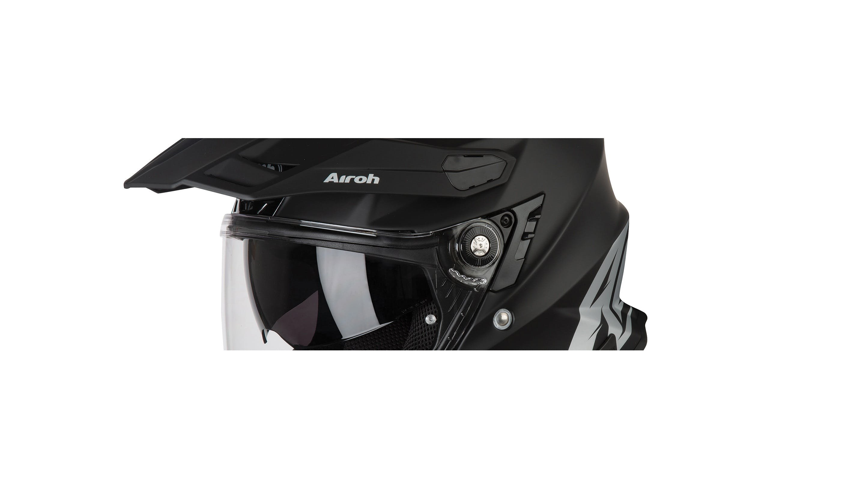 A close up of the mounts and peak on the Airoh Commander