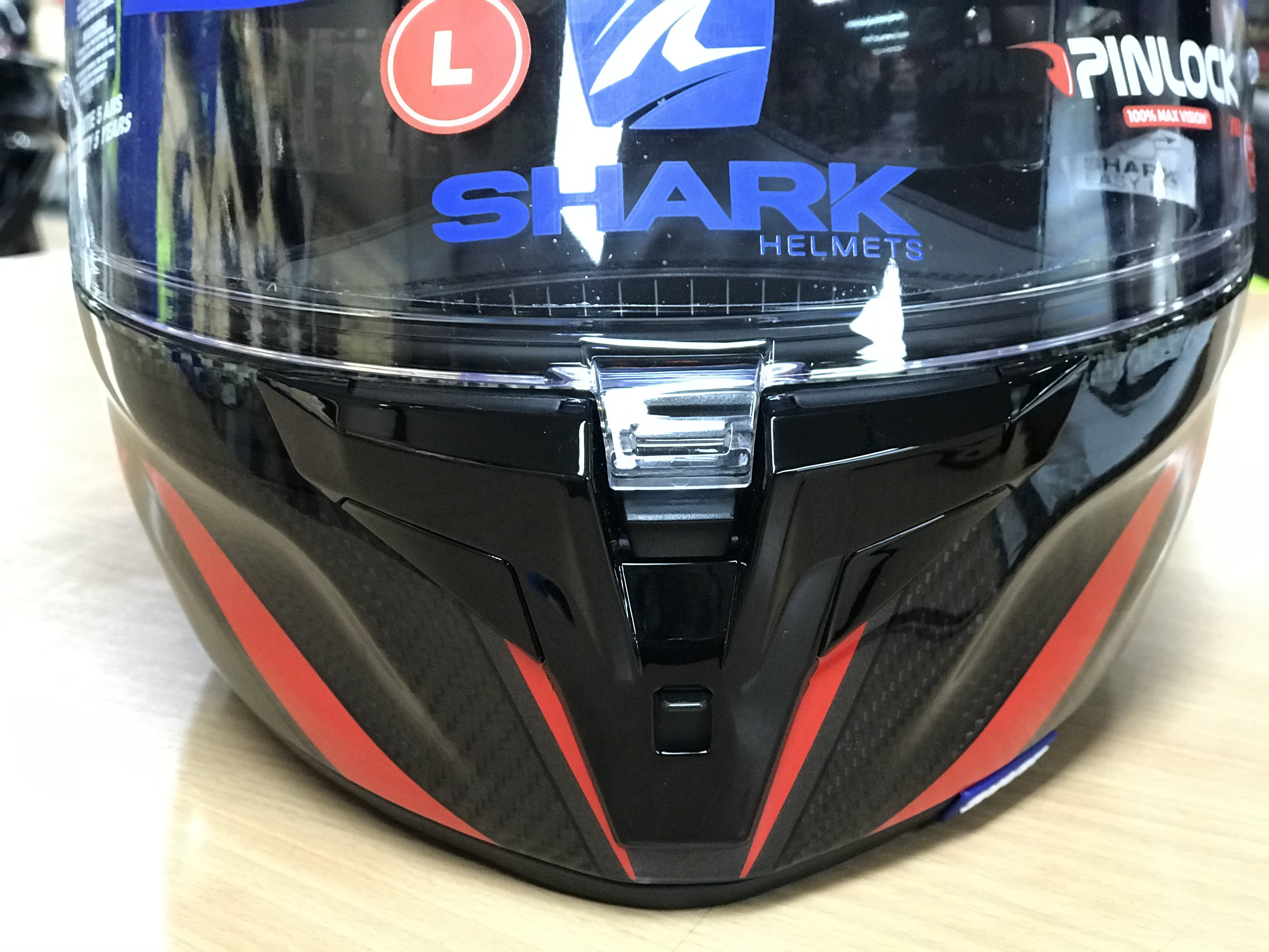 The new front visor lock down system on the Shark Carbon Spartan GT