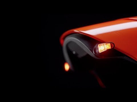 A set of LED indicators on the rear of a motorcycle