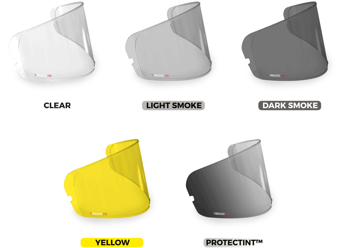 All the different colours of Pinlock insert available- clear, light smoke, dark smoke, yellow, Protectint.