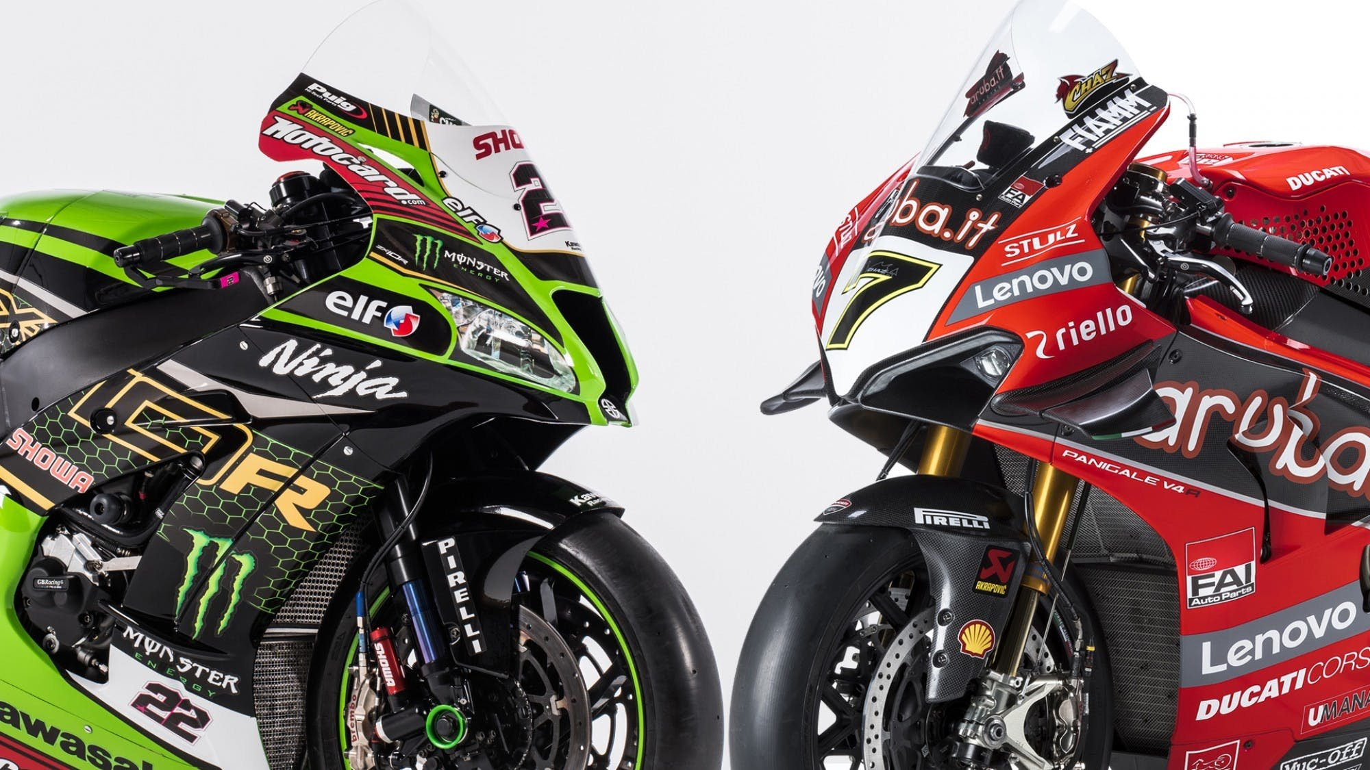 Kawasaki super-sport motorcycle  and a Ducati super-sport motorcycle  facing each other