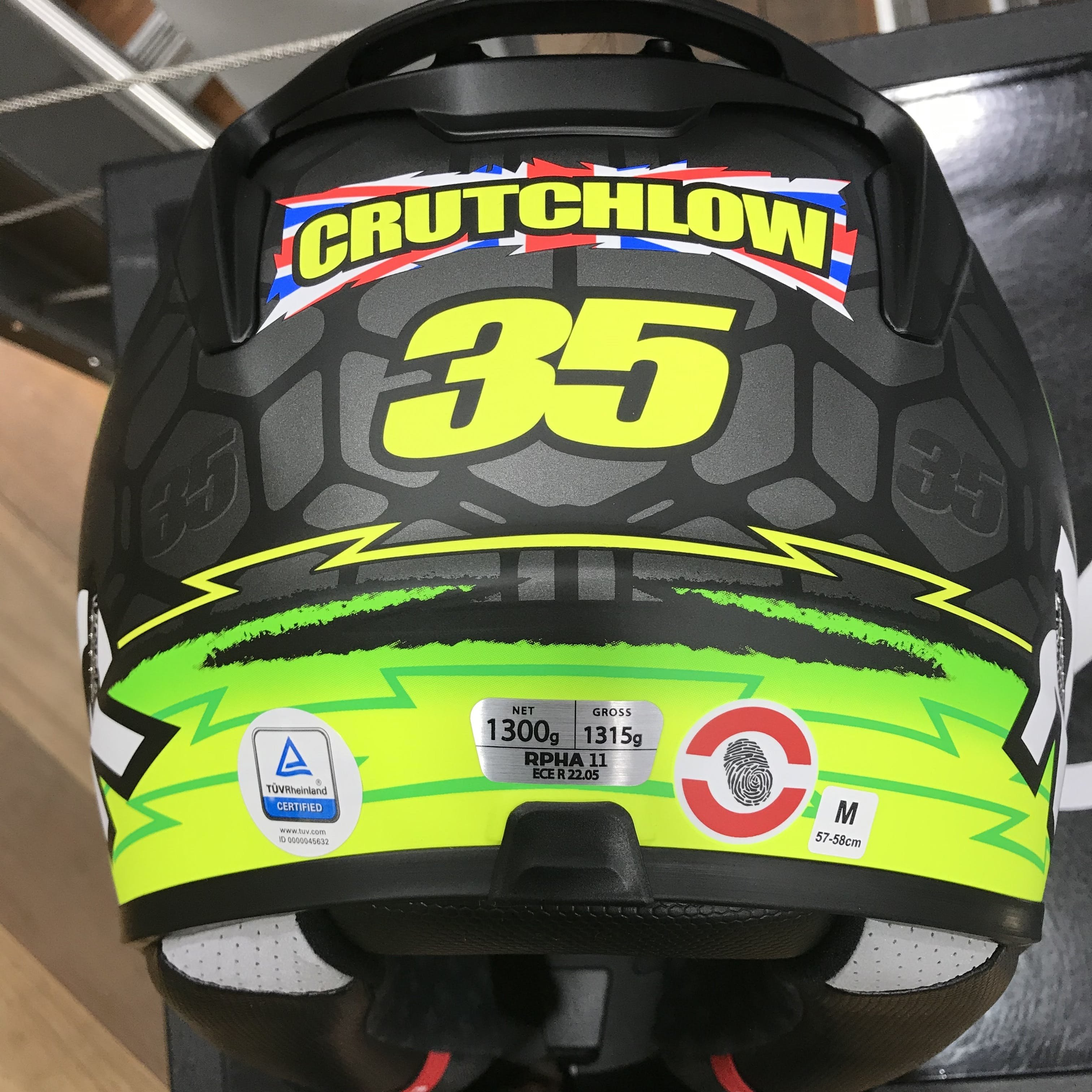 The back of a HJC helmet with a ECE sticker