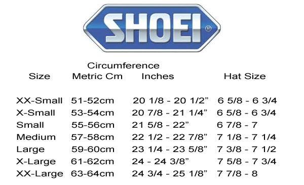 A helmet sizing chart from Shoei Helmets