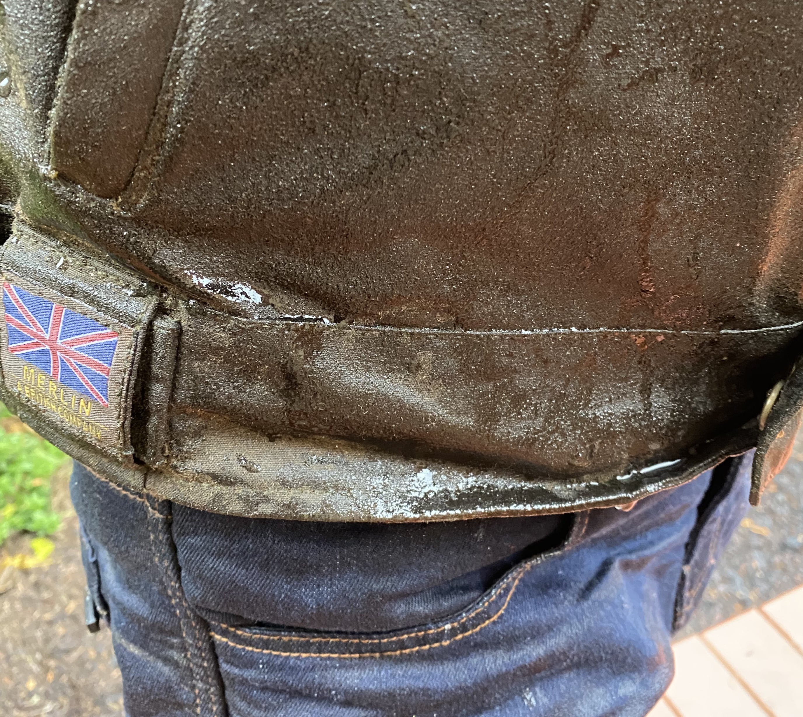 A close up of the wet bottom of the Merlin Barton Jacket
