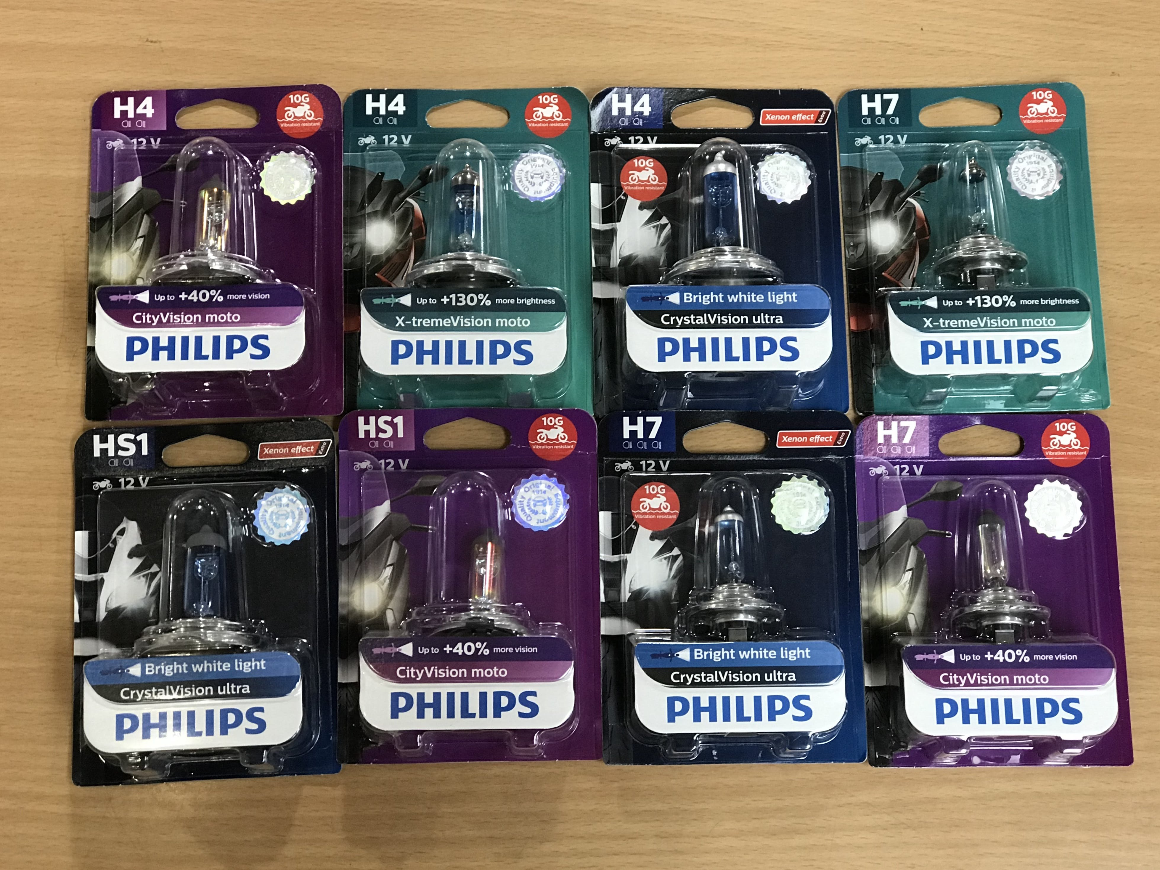 Different Philips branded light globes for motorcycles