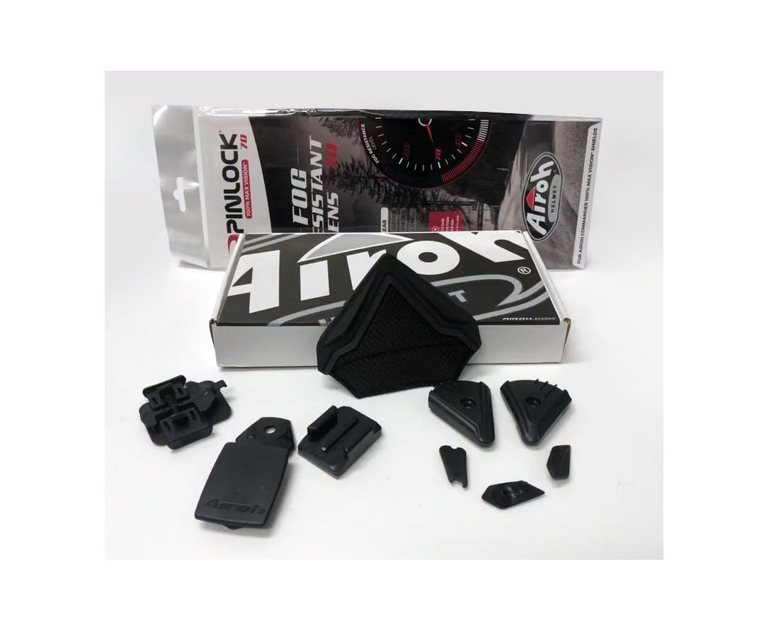 All the spares that you get with the Airoh Commander including a pinlock for the visor, and action camera mounts!
