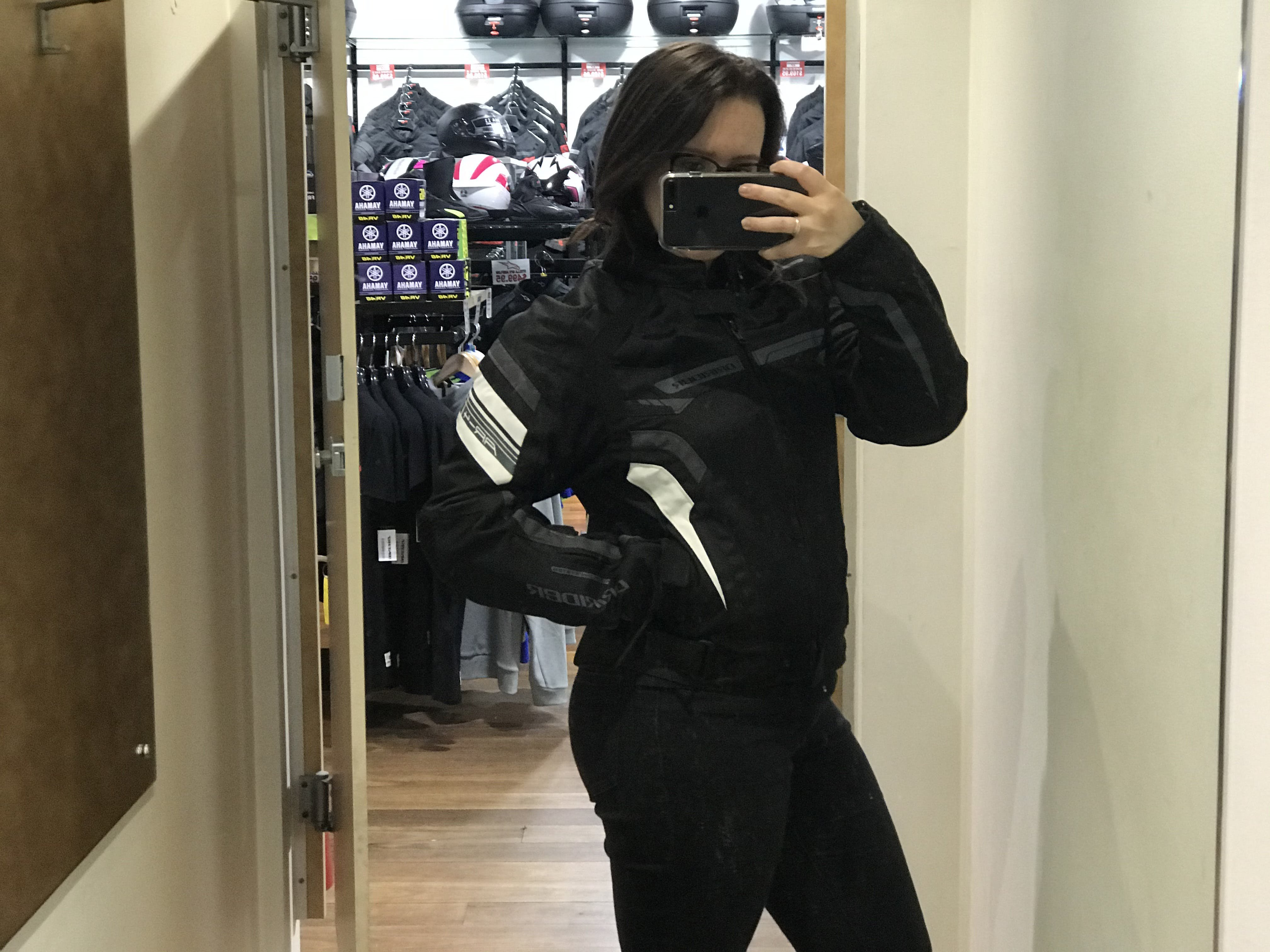 Woman in black and white air ride 4 jacket