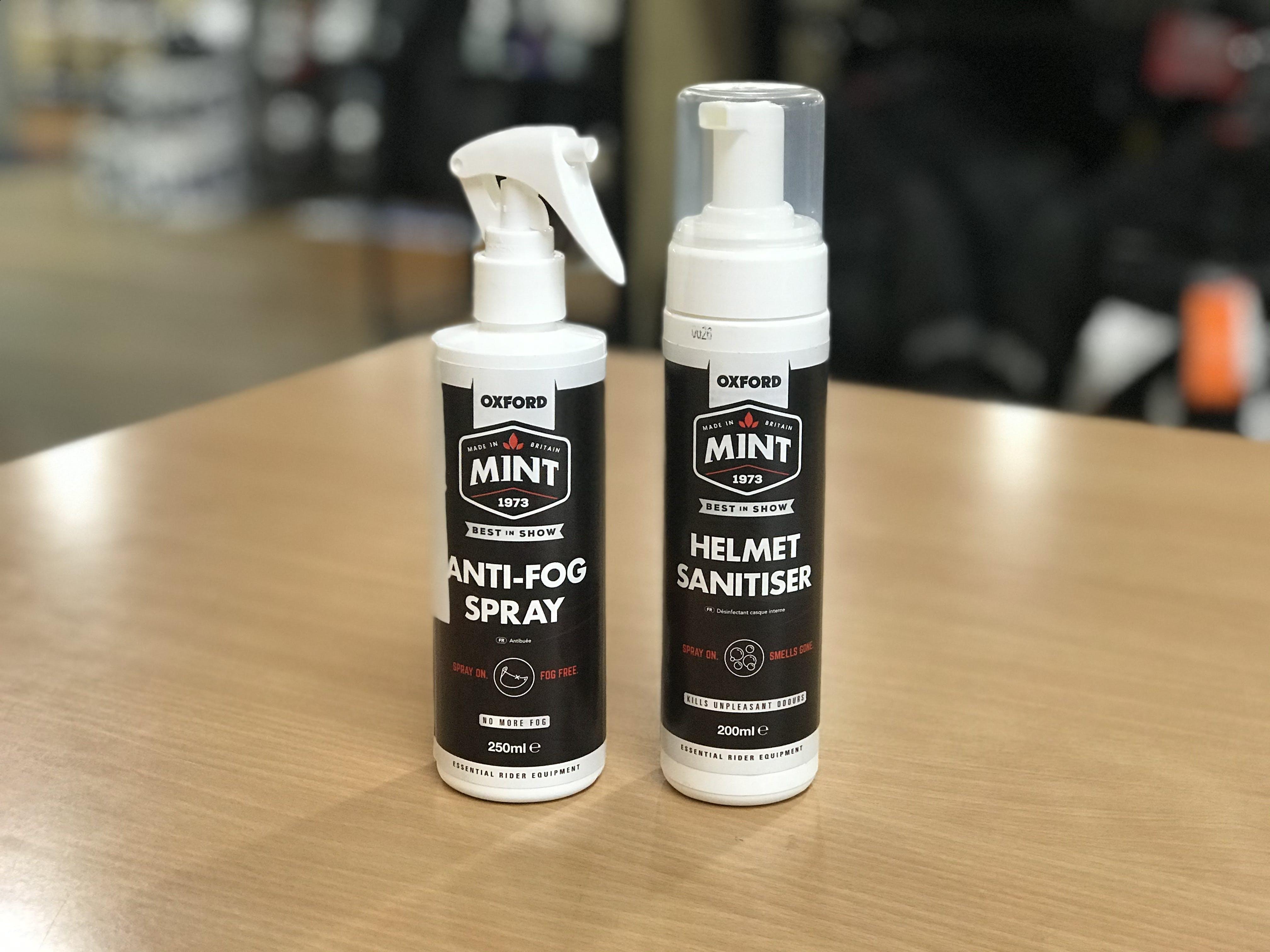 A both each of Mint Anti-Fog Spray & Helmet Sanitiser.