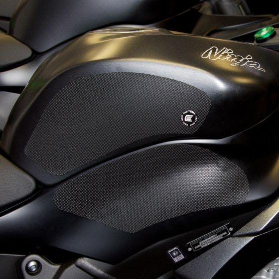 Black Eazi-Grip Pro Tank Grips on a Green Kawasaki
