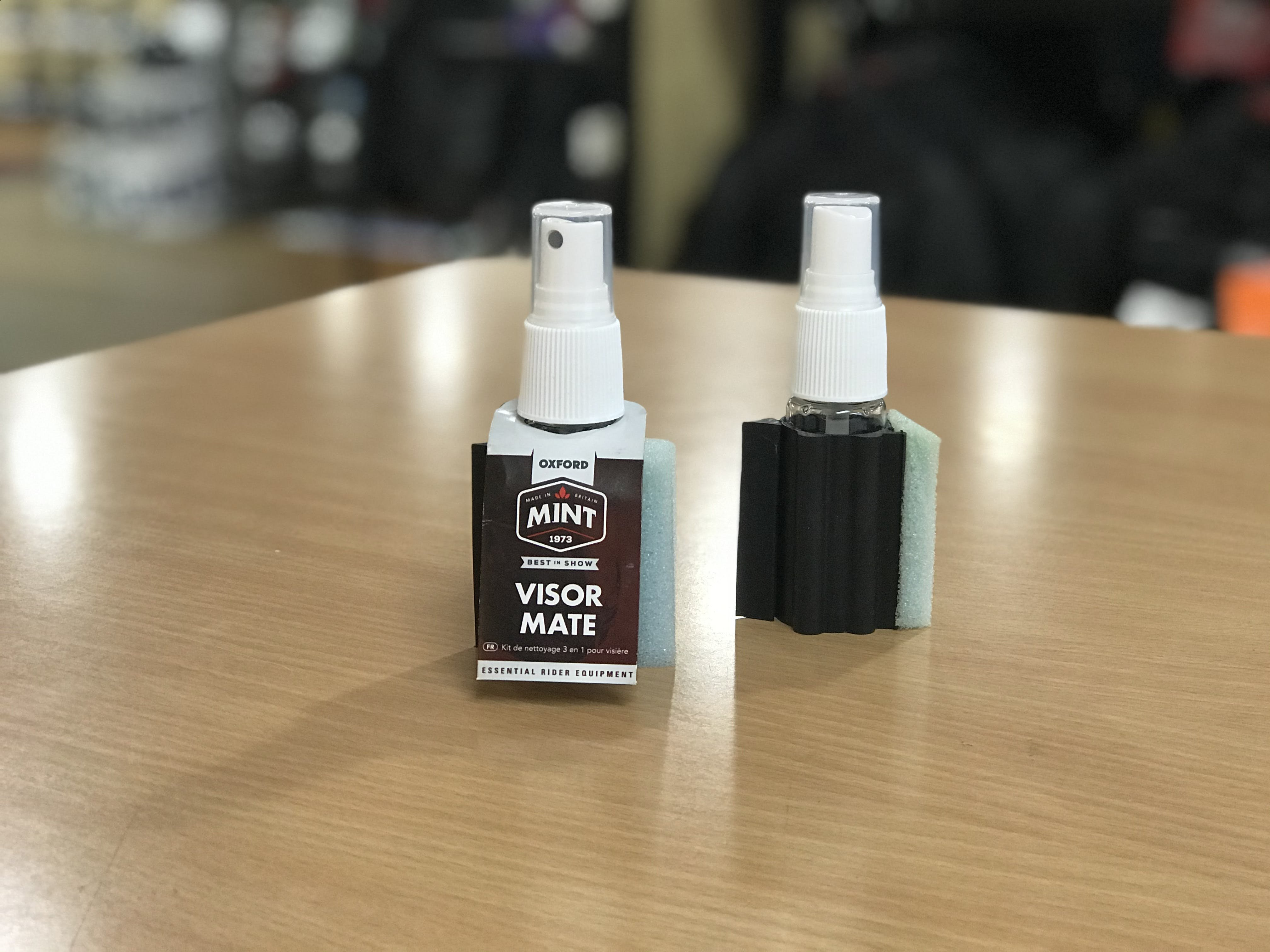 A bottle with the label and without the label of Mint Visor Mate