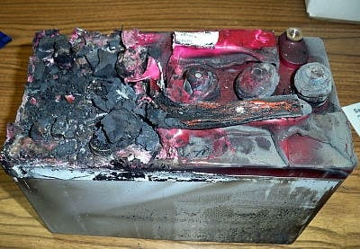 An exploded battery