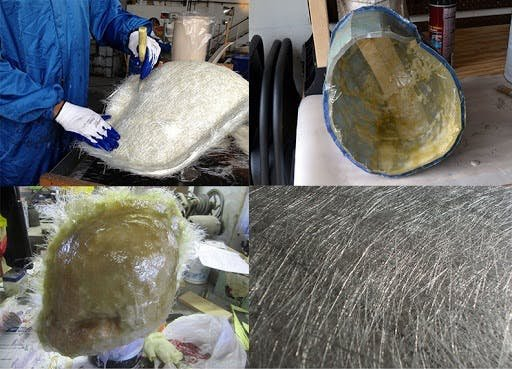 stages of A fiberglass helmet being made