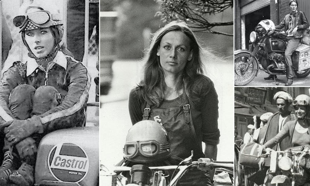 Pictures in black and white of women on motorcycles from the 70s