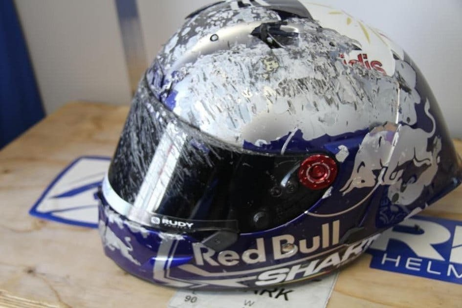 A helmet that was crashed in at 300km/h