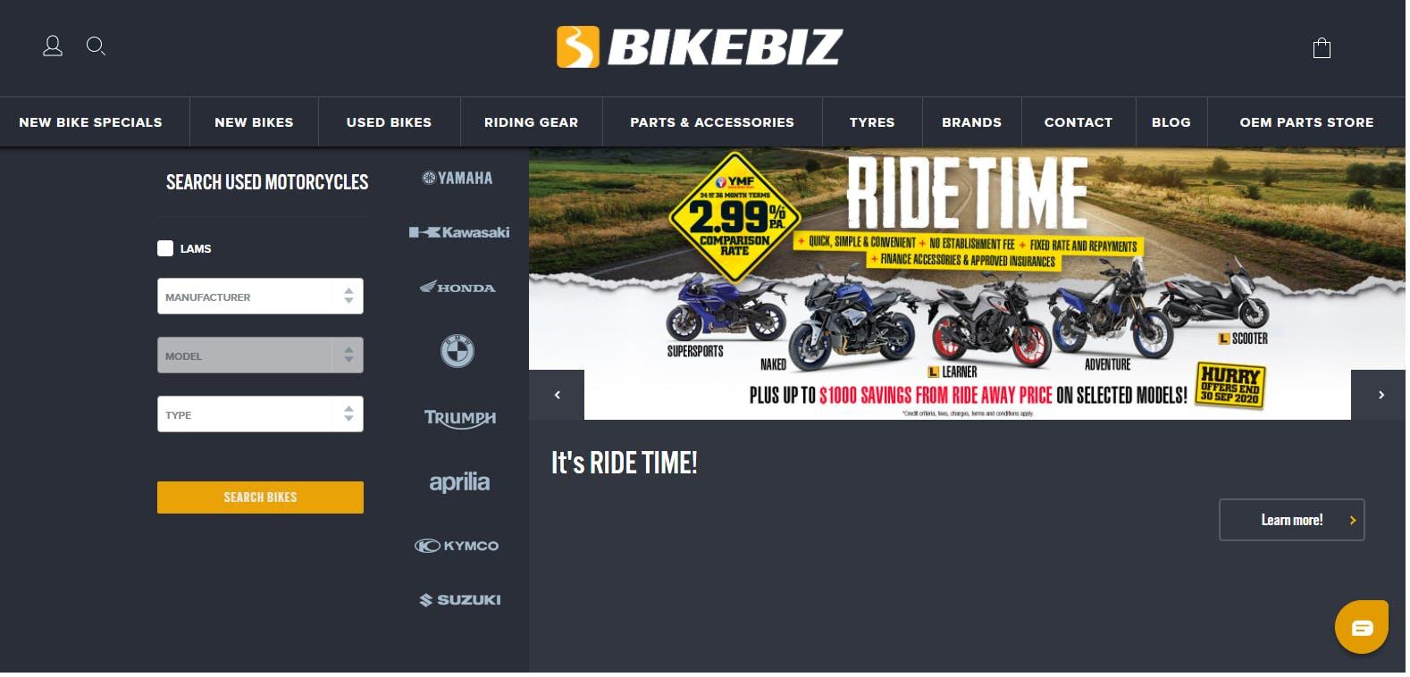 Bikebiz Online store home page