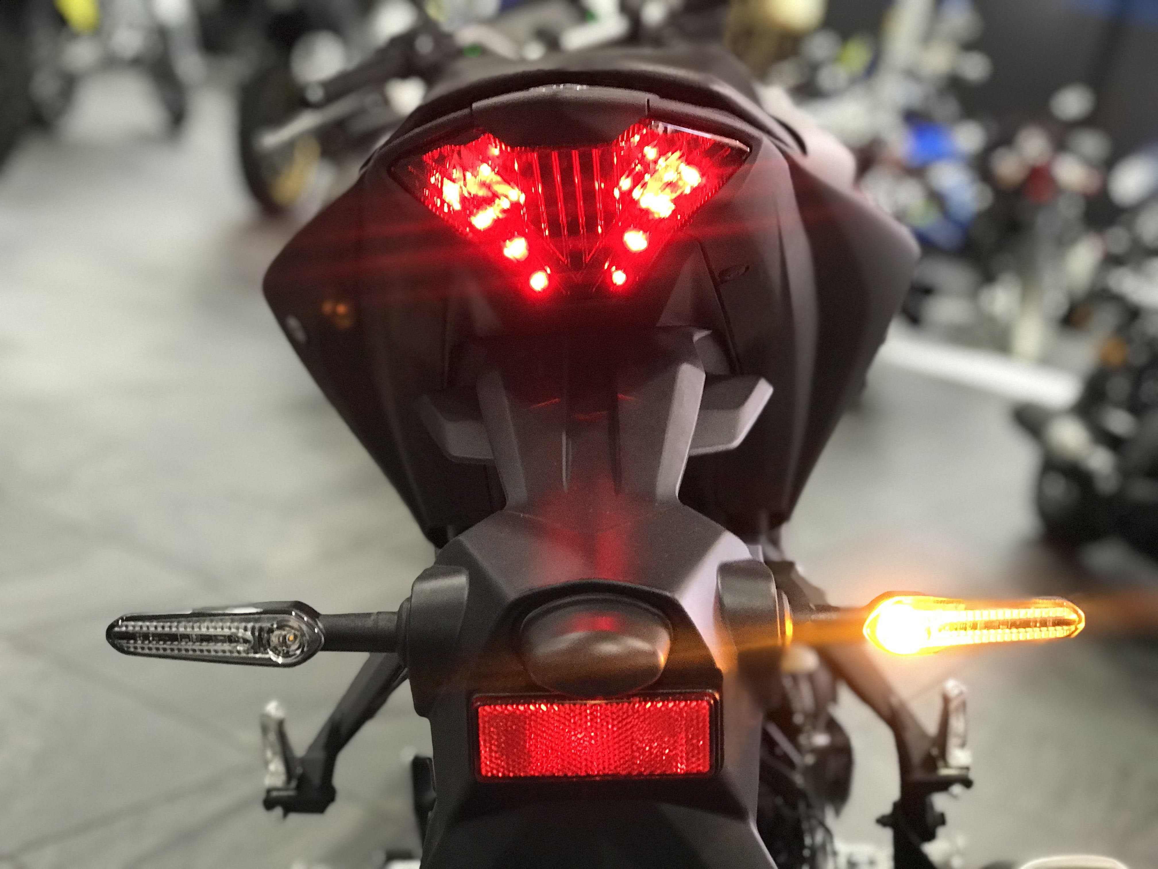 A close up of the rear lights on the 2020 Yamaha MT03