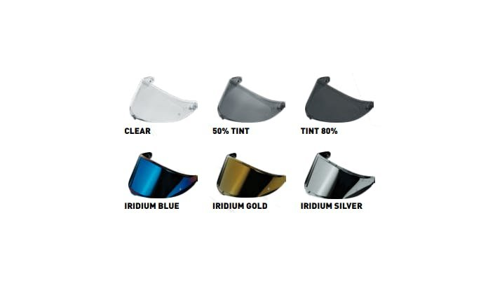 The different visors available for the K6