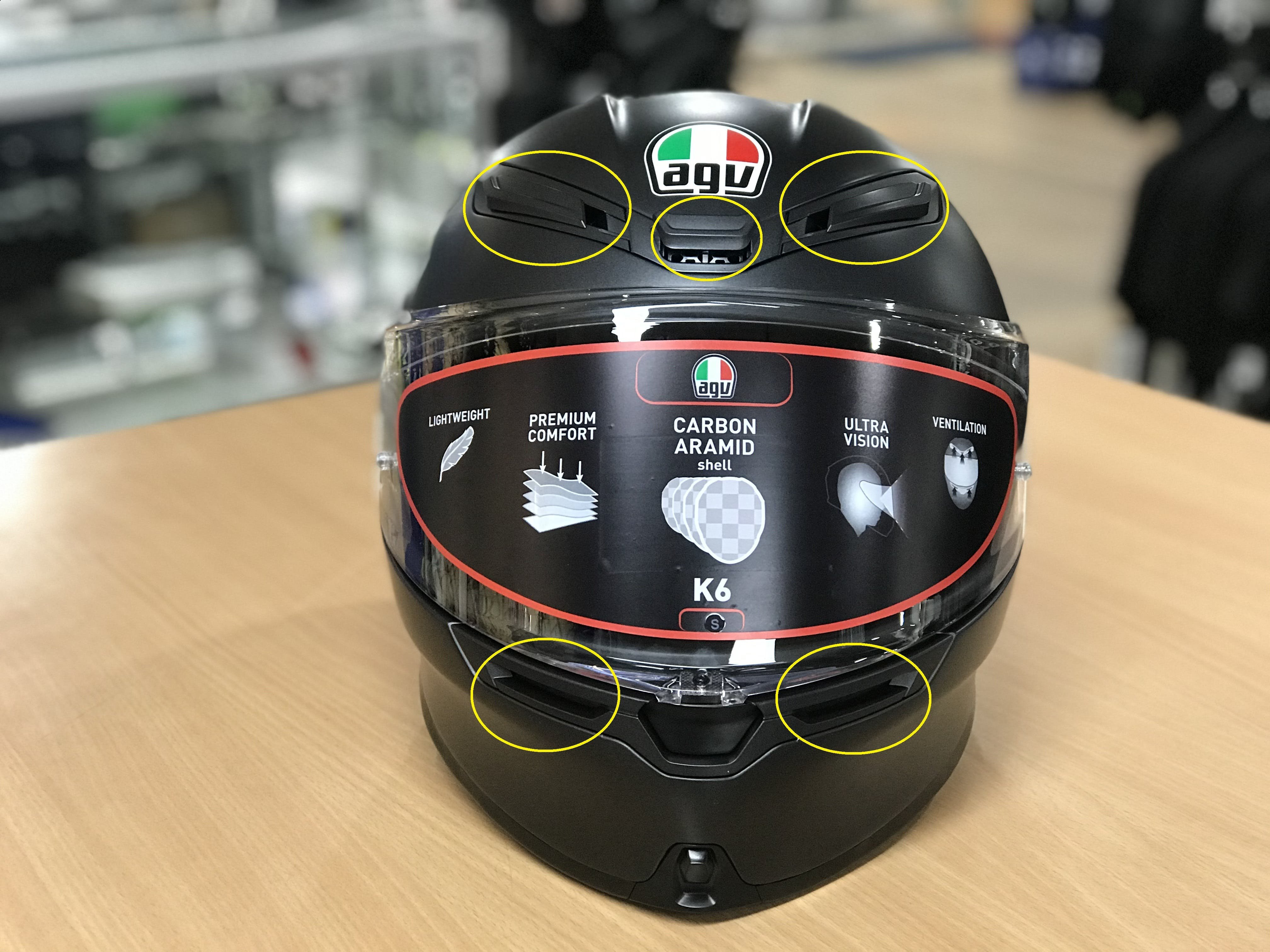 5 front vents on AGV K6 road helmet