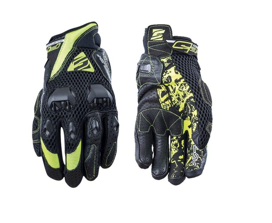 Five Stunt Airflow short glove black white fluro