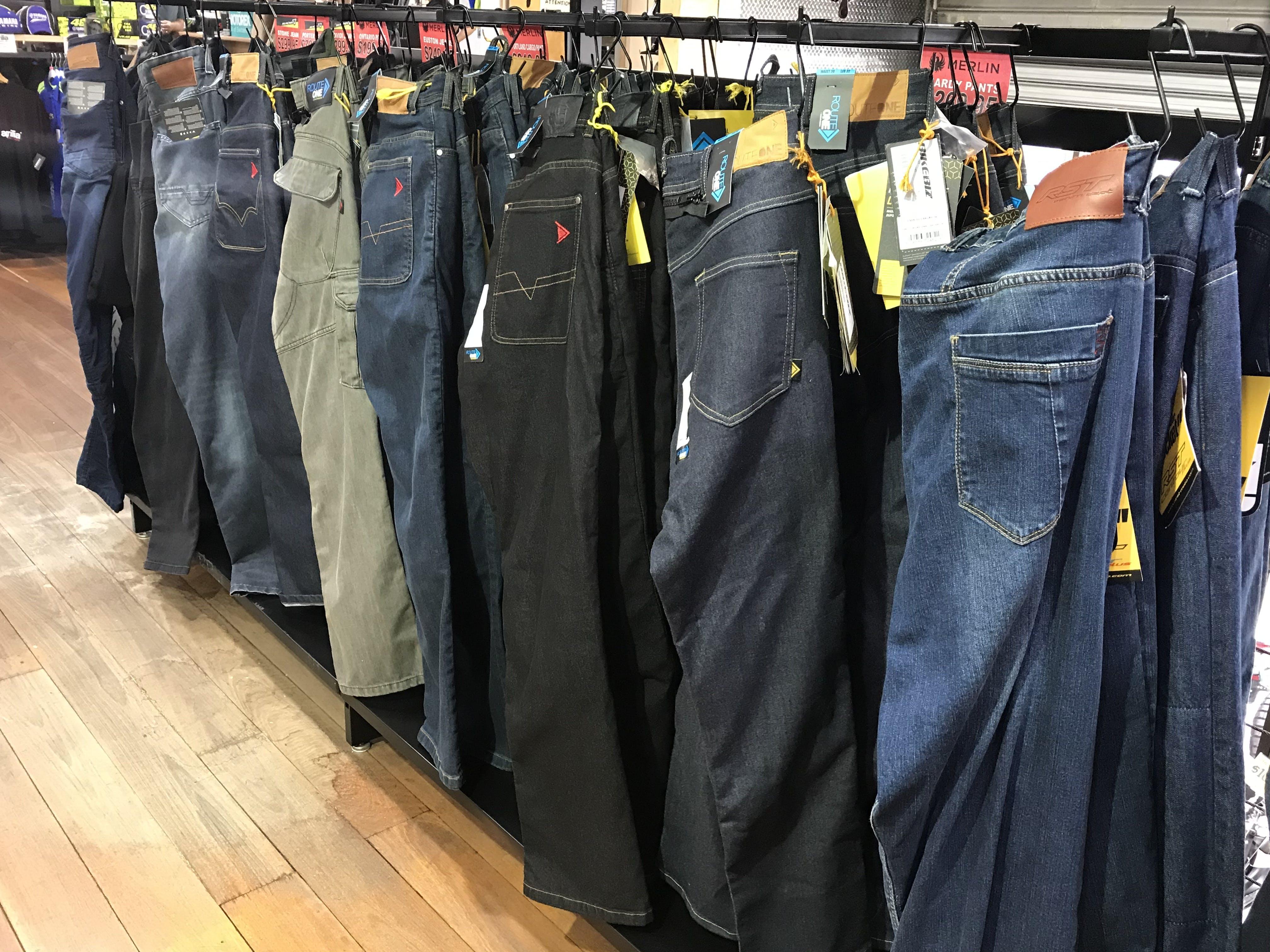 Merlin and Macna Kelvar jeans in store at Bikebiz