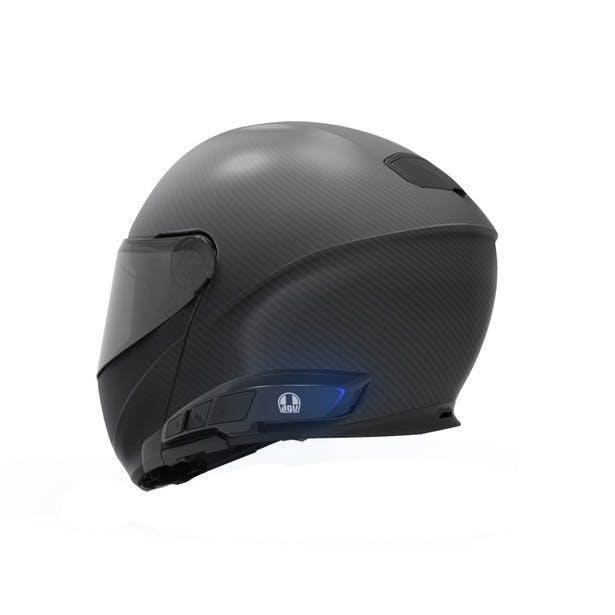 Ark Intercom on AGV Sportmodular matte black helmet