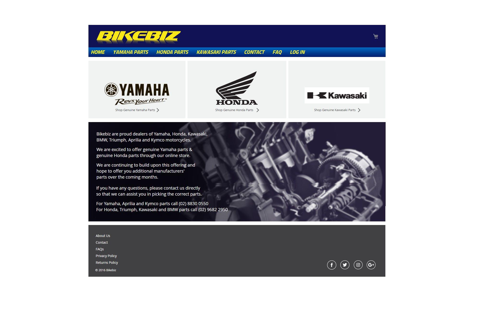A screen shot of The Bikebiz Genuine Spare Parts Website