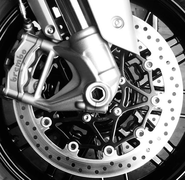 Close up shot of the Brembo brake calipers