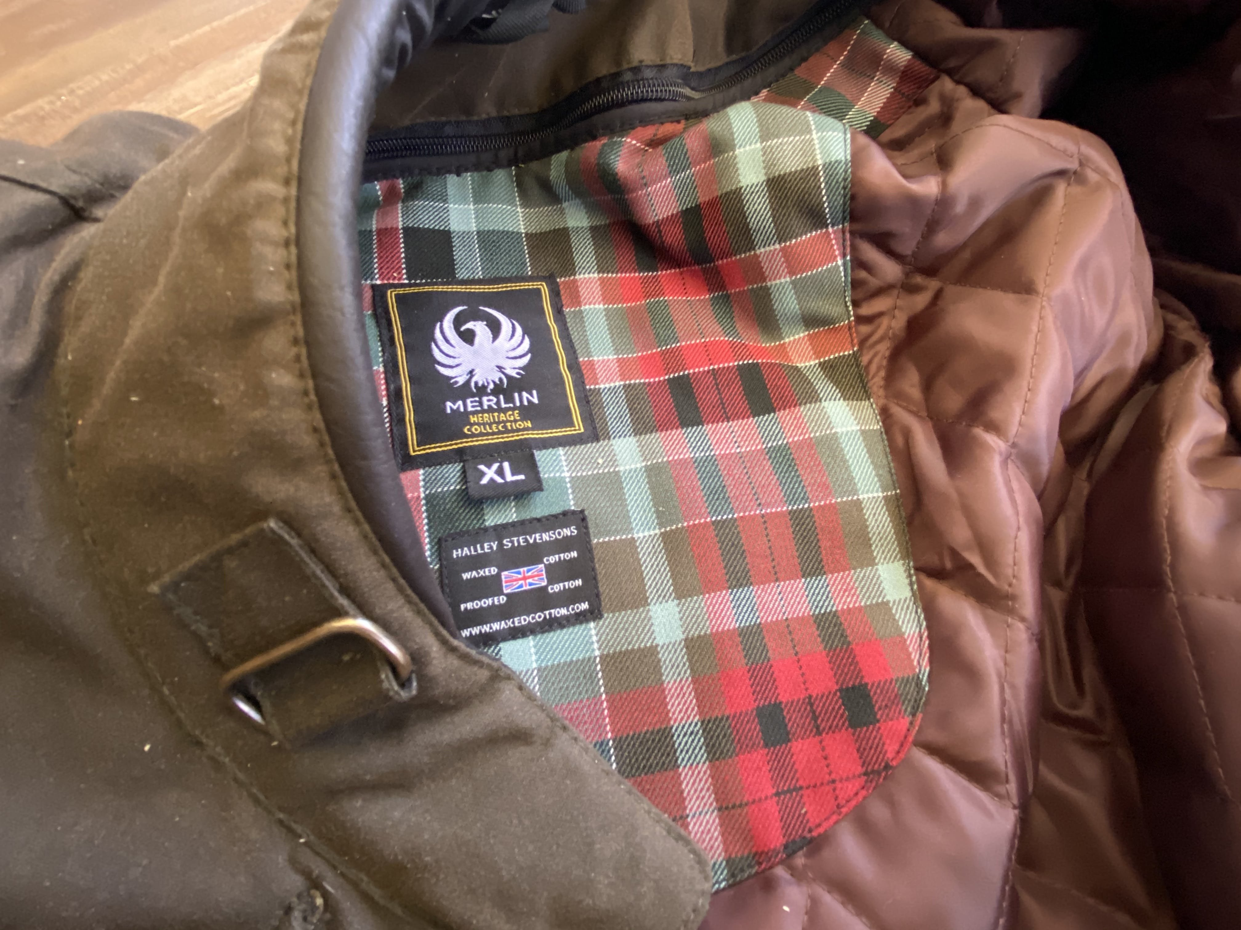 A close up of the quilted inside of the Merlin Barton Jacket