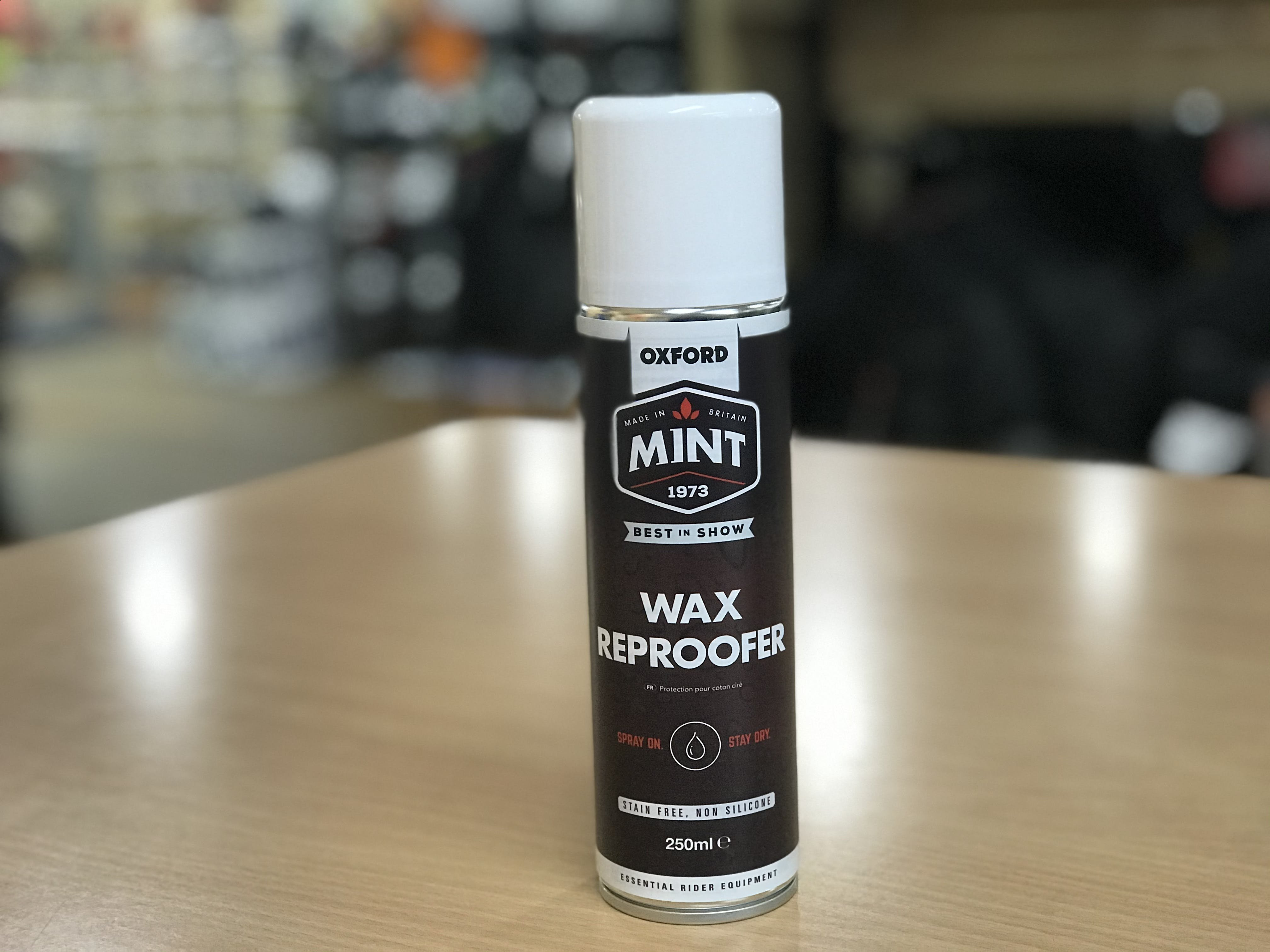 A can of Mint Wax reproofed spray