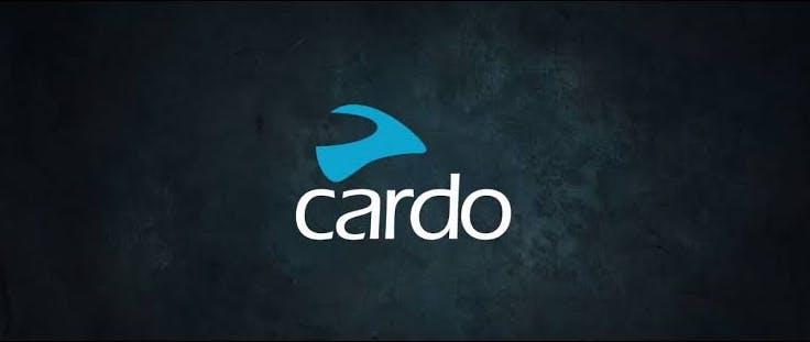 White and blue Cardo logo on dark background